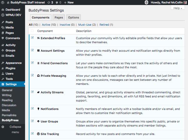 BuddyPress components screen