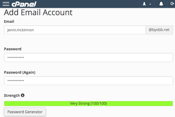 The Add Email Account page in cPanel.