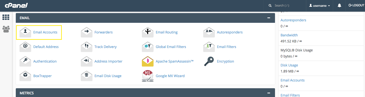 """The cPanel main page. The """"Email Accounts"""" button is highlighted."""