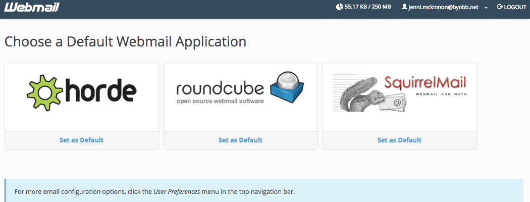"""The """"Choose a Default Webmail Application"""" page in cPanel."""