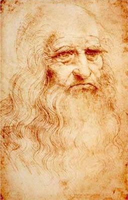Sketch of Leonardo da Vinci - self-portrait in red chalk.