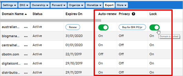 GoDaddy domain security features.