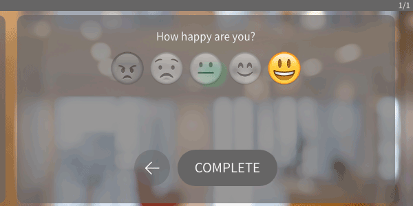 "An one question survey asking ""How happy are you?"" and there are five emojis to answer with including an angry face to a happy face."