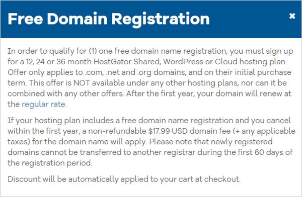 Free domain registration notice from Hostgator