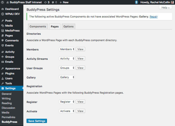 Pages settings in BUddyPress