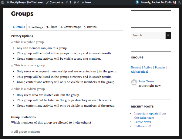 The BuddyPress group settings screen