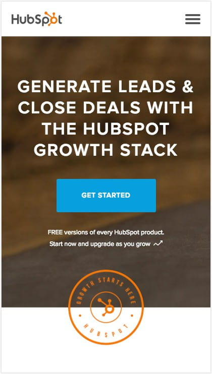 Hubspot's mobile site is simple and directs users to click the CTA.