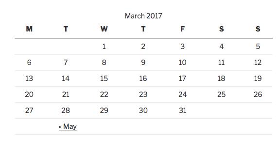 The Calendar Widget also comes standard with WordPress