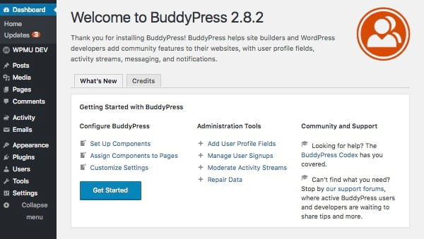 BUddyPress intro screen