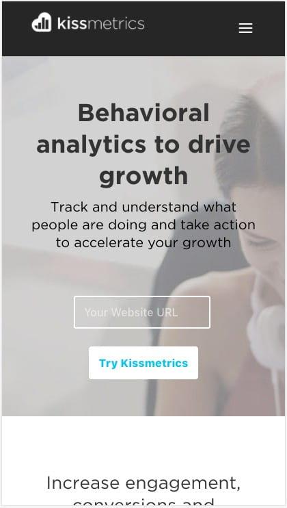 Kissmetrics CTA is easy to reach with your thumb.