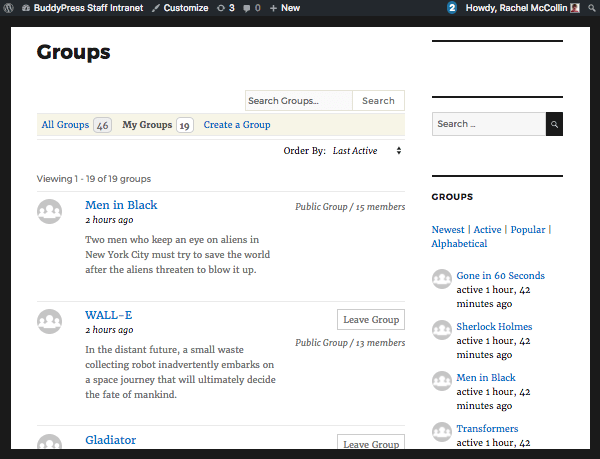 My Groups tab in BuddyPress
