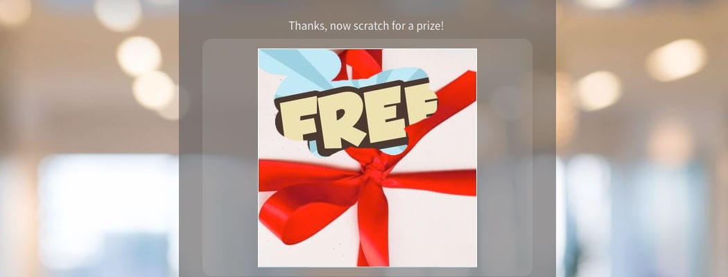 "A web scratch card revealing the word ""free."""