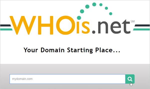 Screenshot of Whois.net homepage.