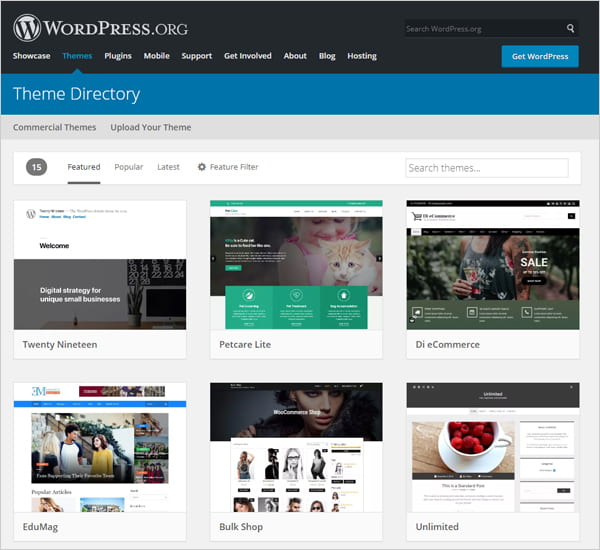 Screenshot of WordPress Theme Directory on WordPress.org