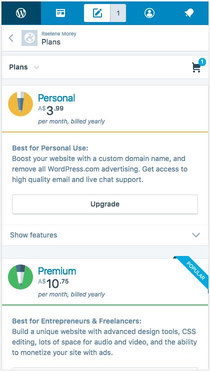 WordPress.com uses a limited color palette.