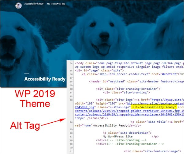 Screenshot of WordPress Theme 2019 With Featured Image alt tag highlighted.