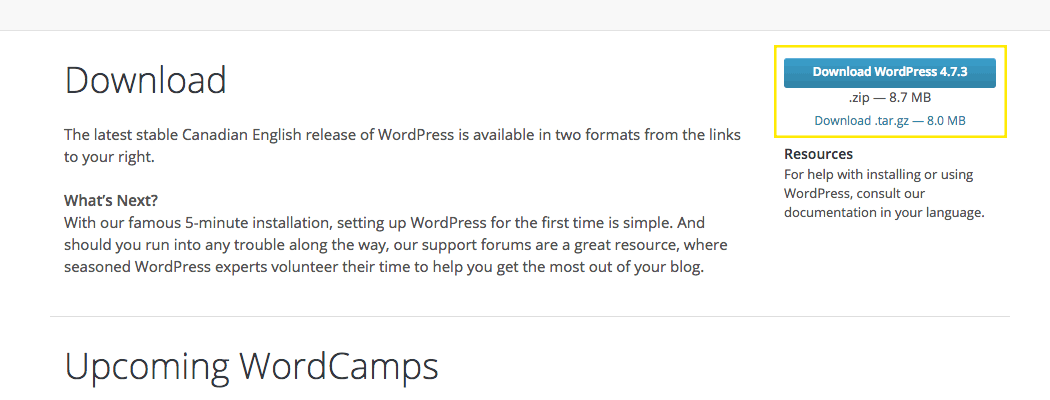 The WordPress.org website translated in Canadian English.
