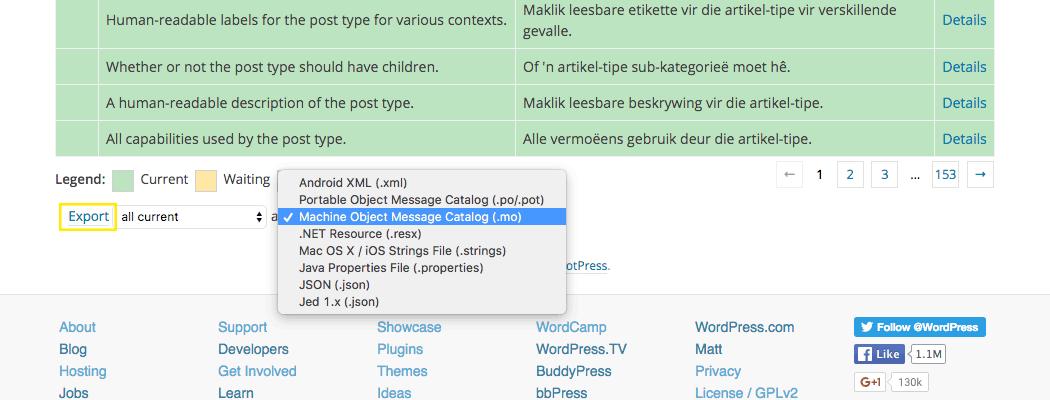 Translation file drop down box