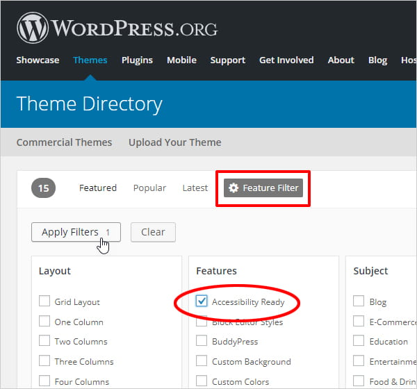 WordPress Theme Directory highlighting Feature Filter and Accessibility Ready filter option.