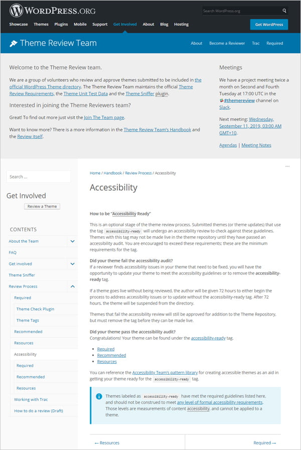 Screenshot of WordPress theme handbook accessibility requirements.