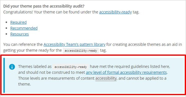 Screenshot of WordPress Theme Review Team's accessibility notice.