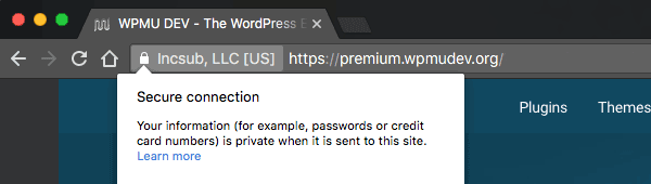 The WPMU DEV site has been secured with an SSL certificate.