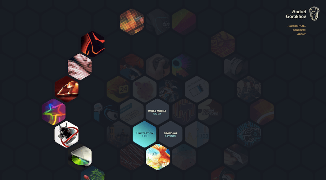 UX designer Andrei Gorokho's website.