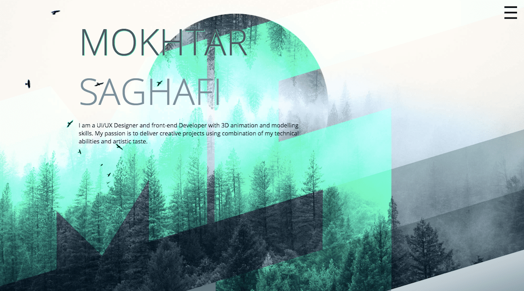 UI/UX designer Mokhtar Saghafi's website.