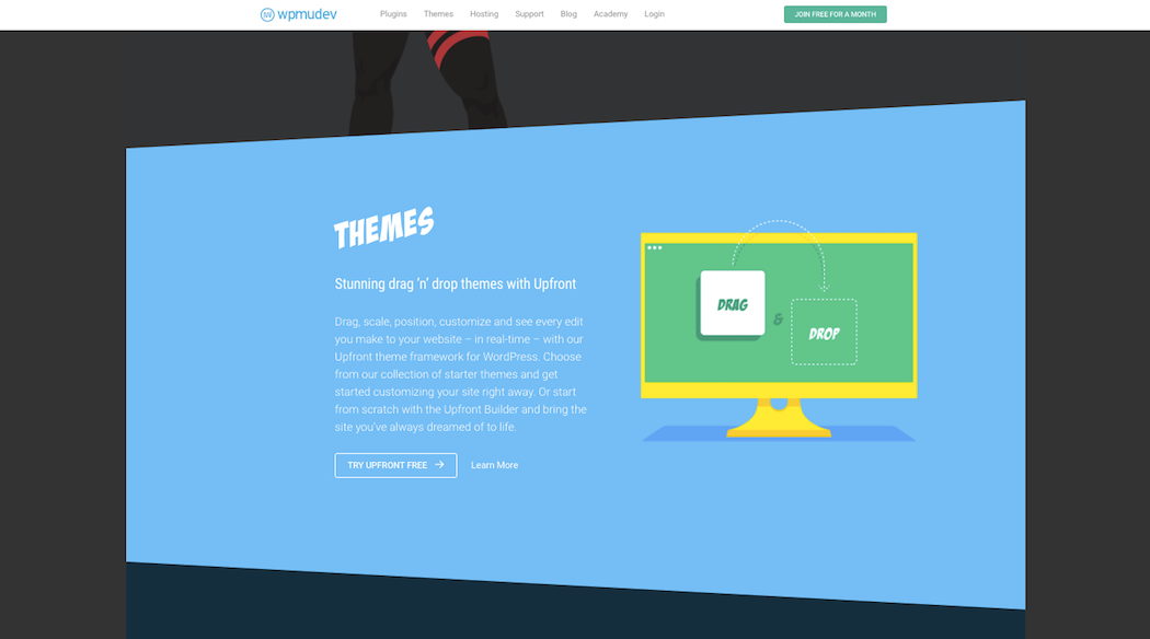 The WPMU DEV homepage features lots of shapes.