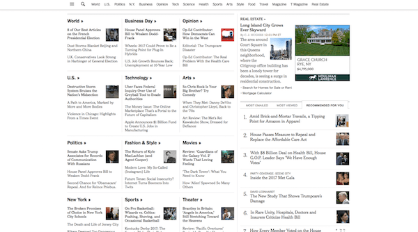 The New York Times website is pretty busy.