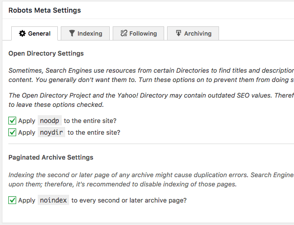 Robots.txt META settings
