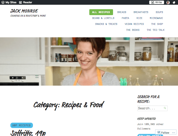Cooking on a Bootstrap website