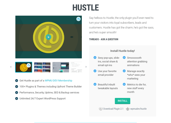 Hustle marketing plugin