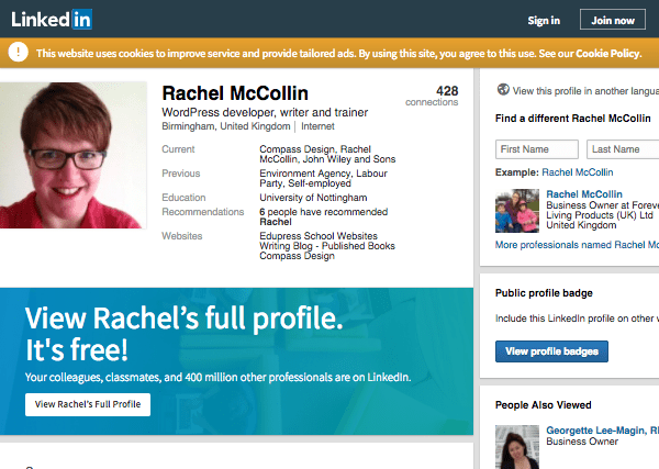 Rachel McCollin's profile on LinkedIn