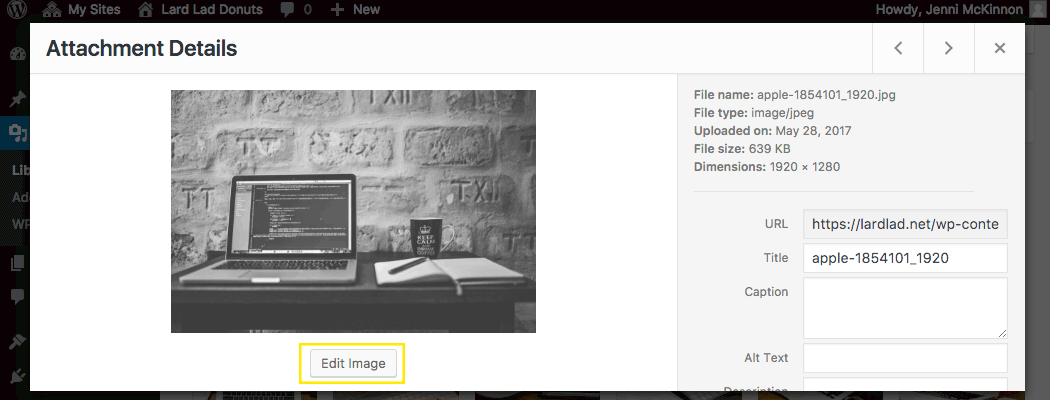 Attachment details for an image
