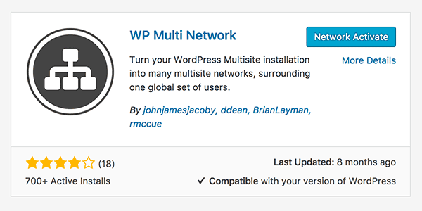 Simply network activate the plugin and you're ready to start setting up your Multi Network.