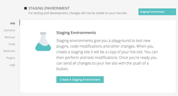 Creating a staging environment at Kinsta