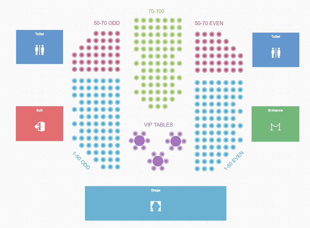 An example of a Tickera seating chart.