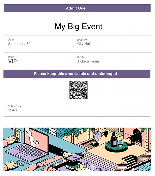 An example ticket created with Tickera.