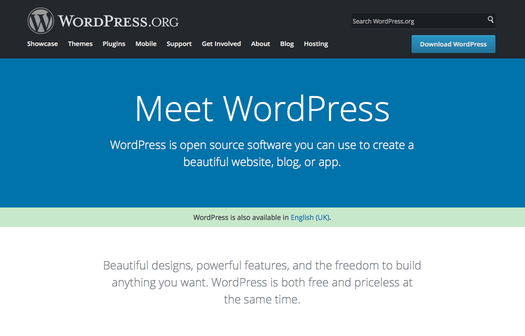 The WordPress.org website.