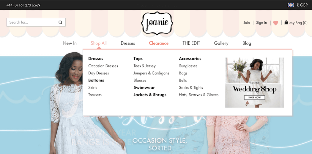Joanie Clothing Shop All mega menu