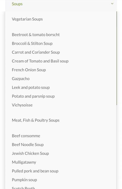 UberMenu Soups submenu on Android phone