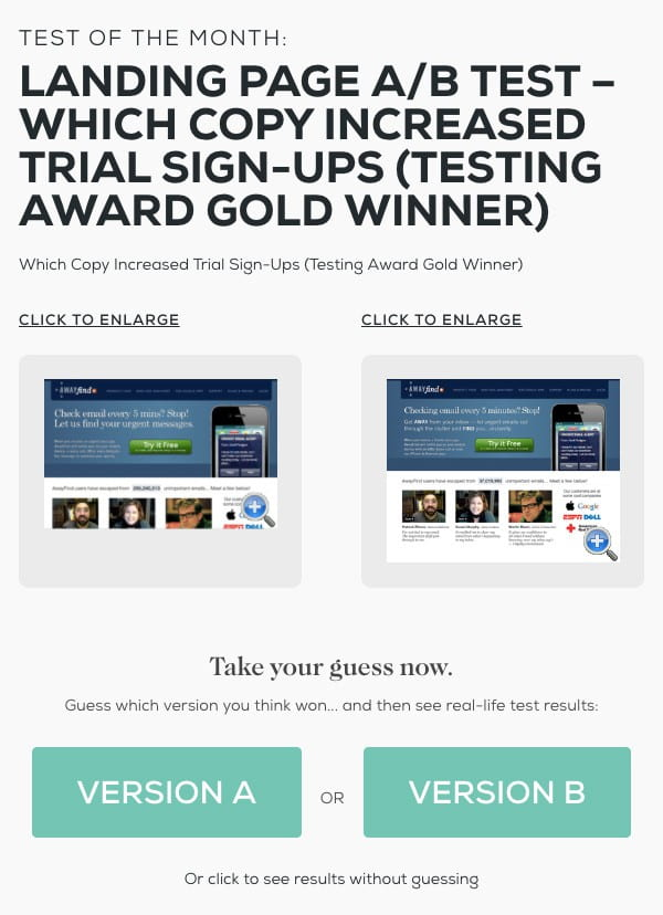Behave A/B test for copy