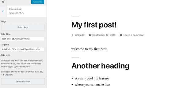 Let your users customize their sites using the customizer