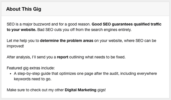 Fiverr gig description