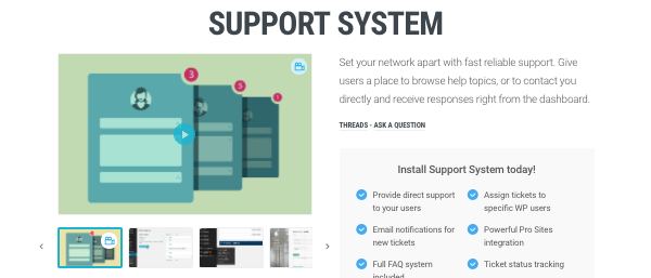 Support System plugin on WPMU DEV site