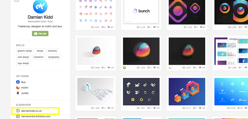Backlinks - Dribbble Example