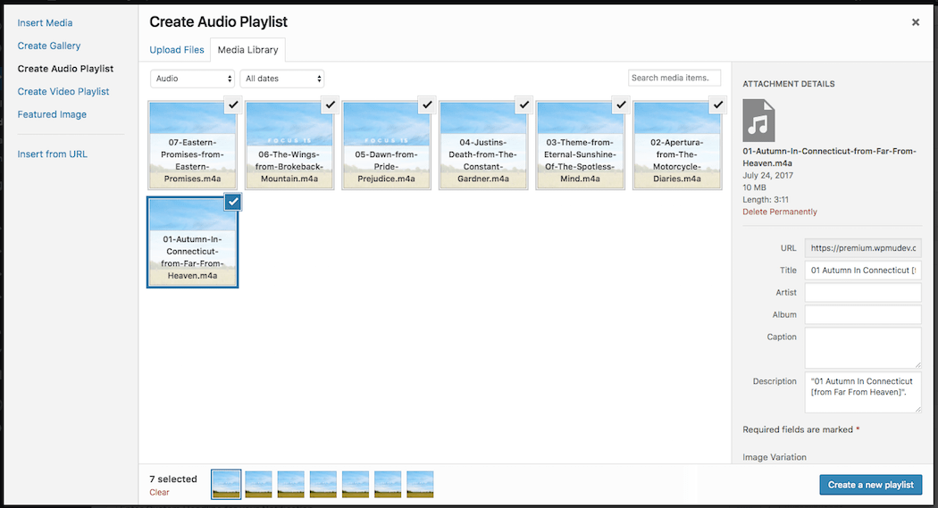 Create audio playlist WordPress