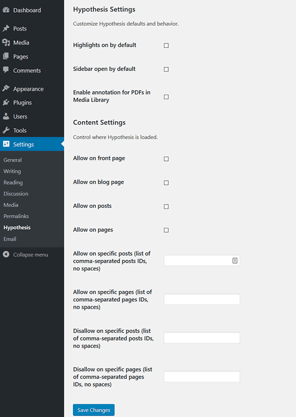 Hypothesis plugin settings