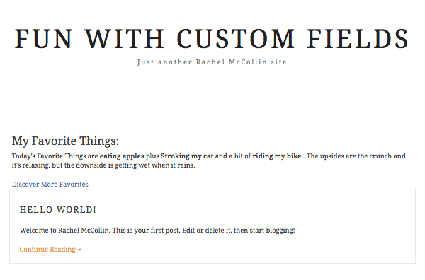 Favourite things list with link to refresh query but no styling